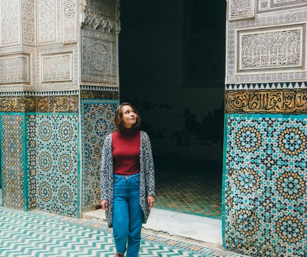 Young Caucasian woman standing inside riad in Morocco