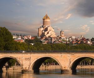 Tbilisi - Saarbrucken bridge and Sameba Cathedral1