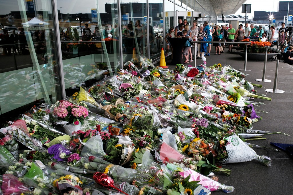 A memorial for the victims of Flight MH17 at Amsterdam Airport, following the tragic downing of the aircraft.