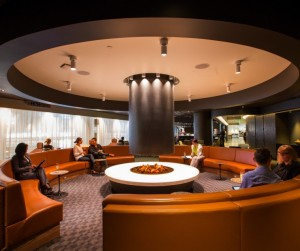 Travelling in style in the Qantas OneWorld lounge. Credit: Qantas
