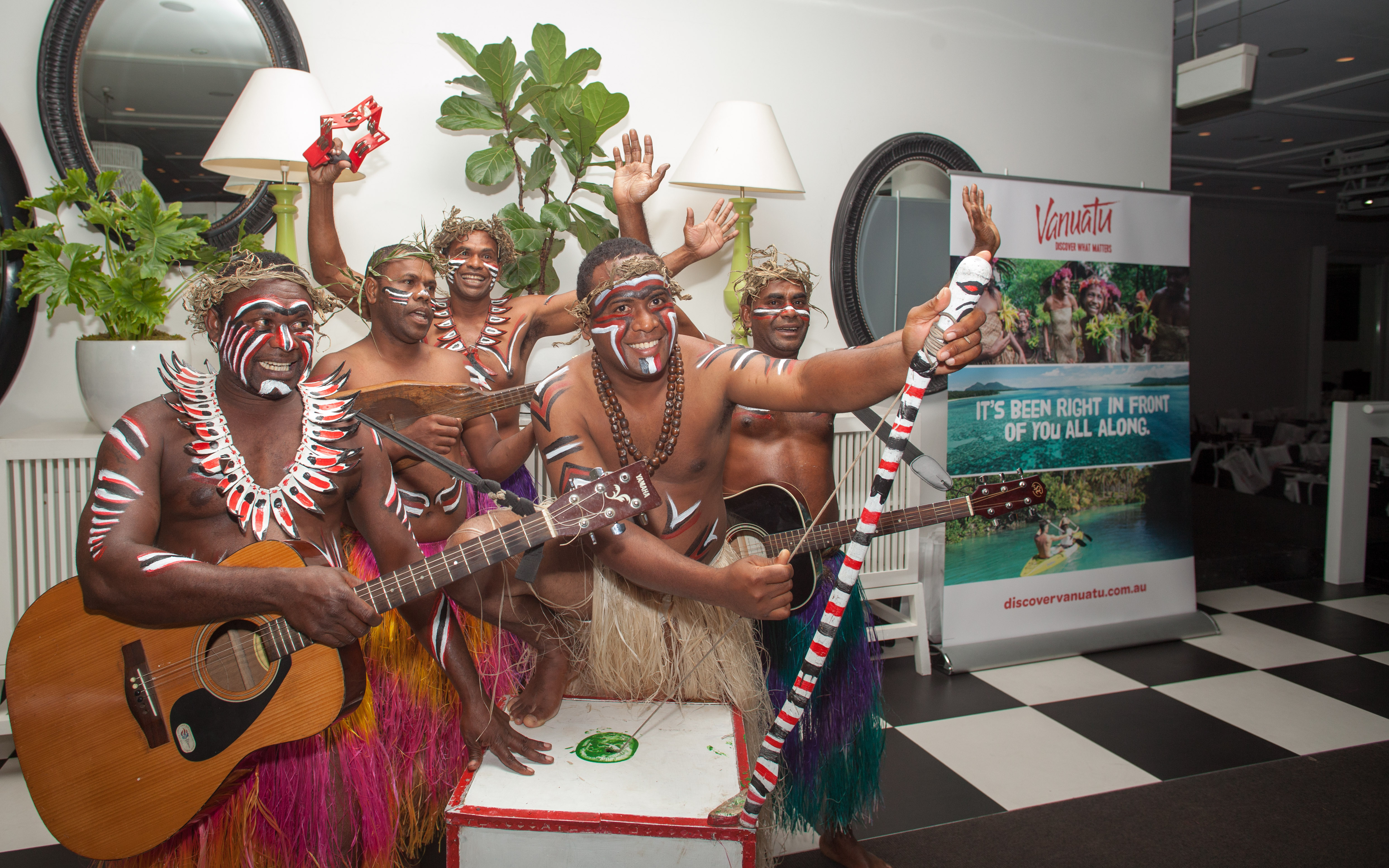 Traditional Vanuatu entertainers from the Banks Islands