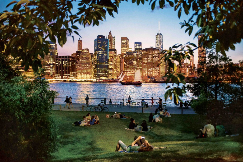 Brooklyn Bridge Park; Brooklyn; high vantage point; vantage point; bridges; bridge; skyline; activity; lower manhattan; dusk; twilight; pink sk