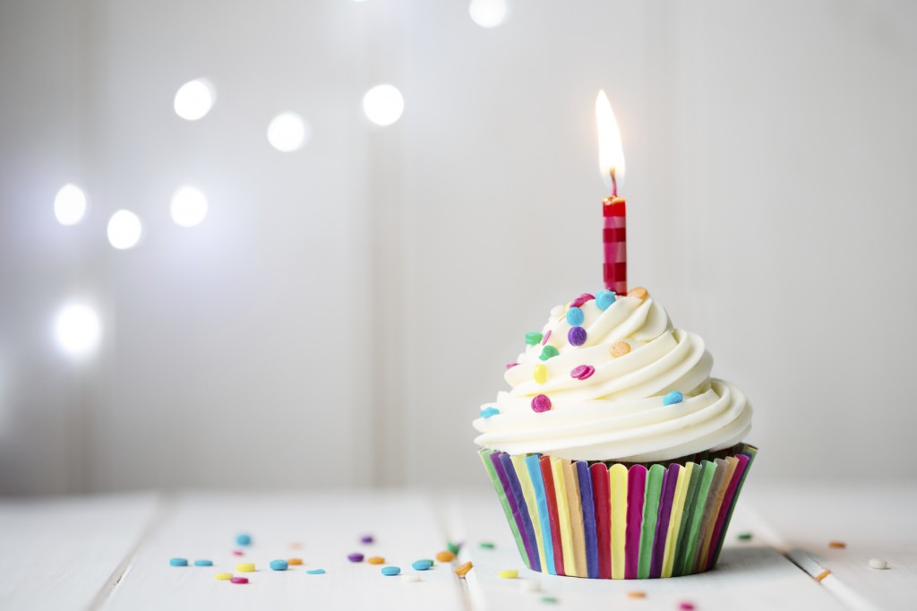 Cupcake with a single candle