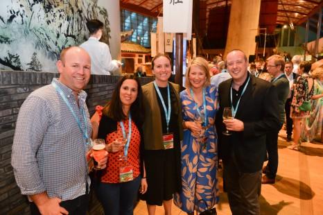 Neil Ager, Fran Villegas, Megan Flynn (Qantas), Alice Ager (Oceania Cruises & Regent Seven Seas Cruises), Rob Harrison (Qantas)