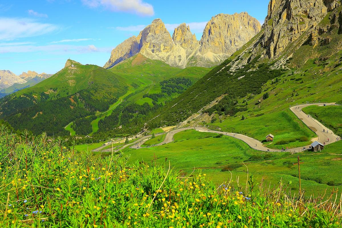 SAS Pordoi and Sella mountain pass, Dolomites, Italian Tirol alps