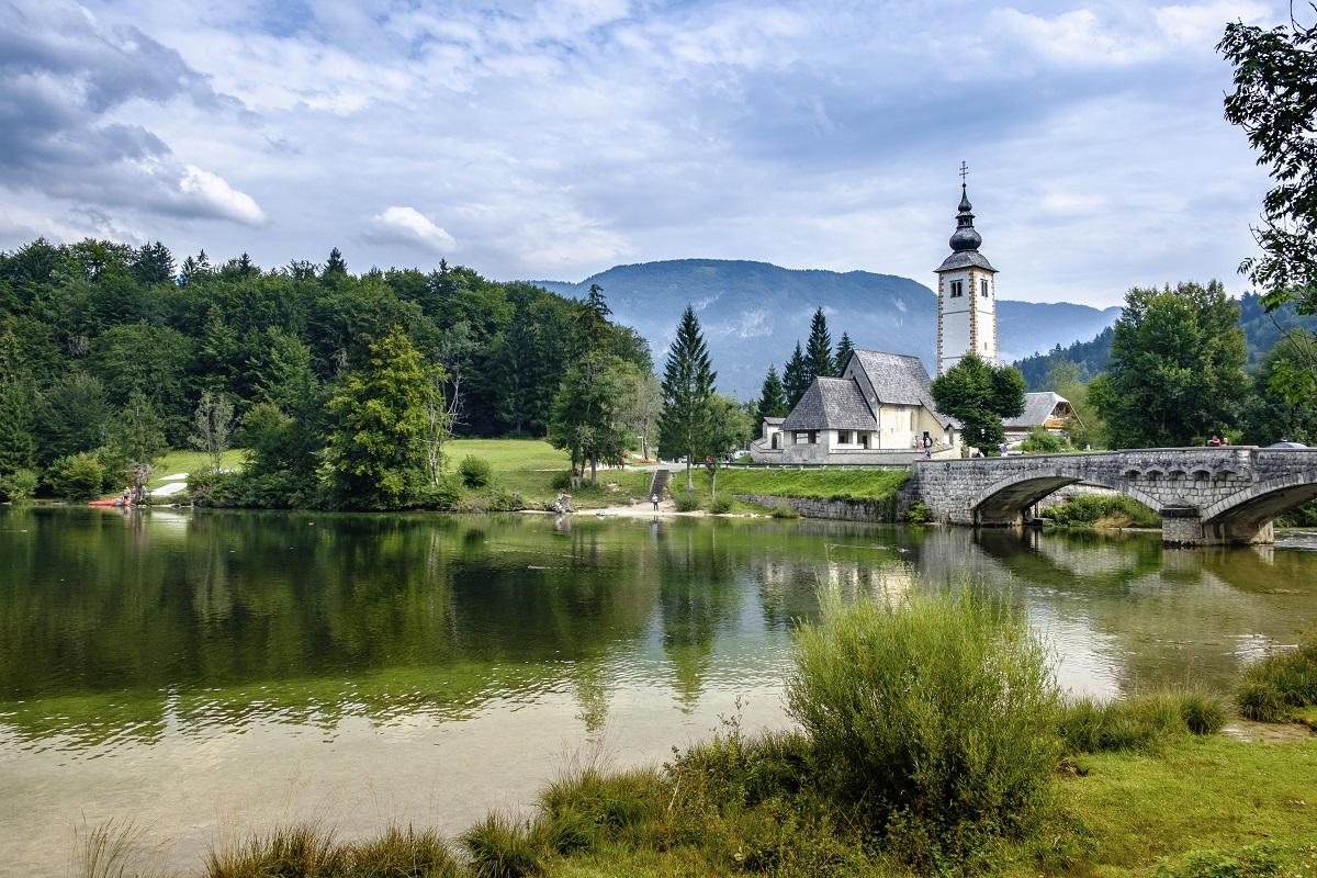 Lake Bohinj and the church in Ribčev Laz, Slovenia