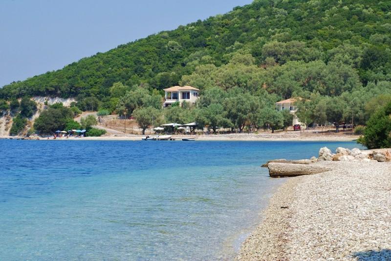 The shingle beach at Agios Ioannis on the Greek island of Meganissi.