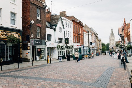 Gloucester, United Kingdom - August 17, 2015: Commercial and pedestrian street in Gloucester town center a cloudy day