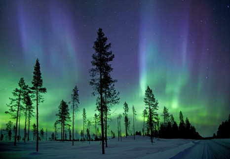 Aurora borealis photographed in the early hours of the morning in arctic circle.