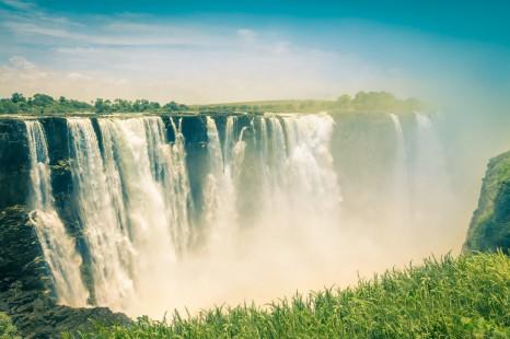 Vintage postcard of Victoria Waterfalls - Zimbabwe