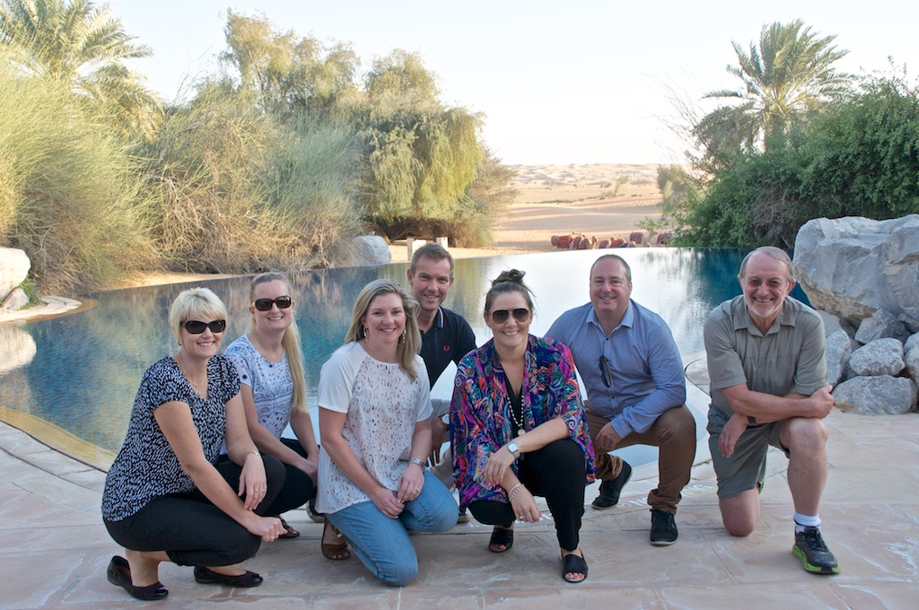 1.The group enjoyed sundownders on the dunes and dinner at Al Maha Resort, Dubai. L-R. Jodie Shelton from Travel Centre Bendigo VIC, Misha Treasure from Cathie Rice Travel WA, Megan Hutton, Spencer Travel Eastside NSW, Andrew Macfarlane, Magellan Travel Group CEO, Sheree Pekovich from Dubai Tourism, Richard French from Platinum Travel Corporation VIC, Gerd Wilmer from Landmark Travel NSW