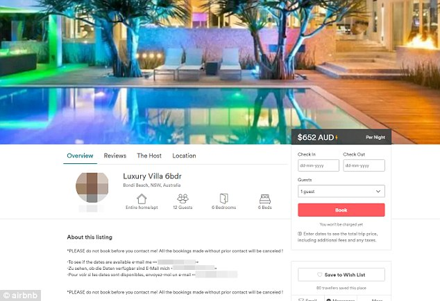 The Airbnb listing