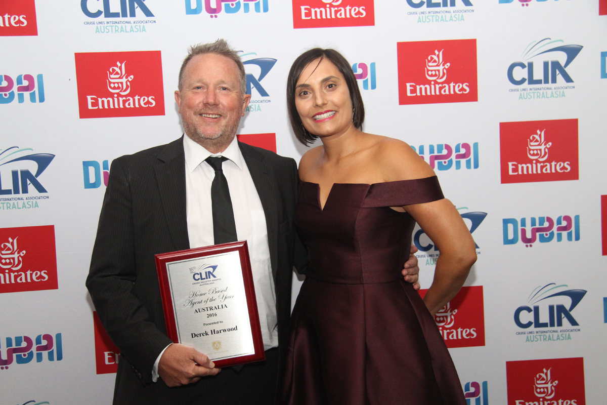 Home Based Agent of the Year Australia Derek Harwood with Rocky Mountaineers' Dianna Shinella