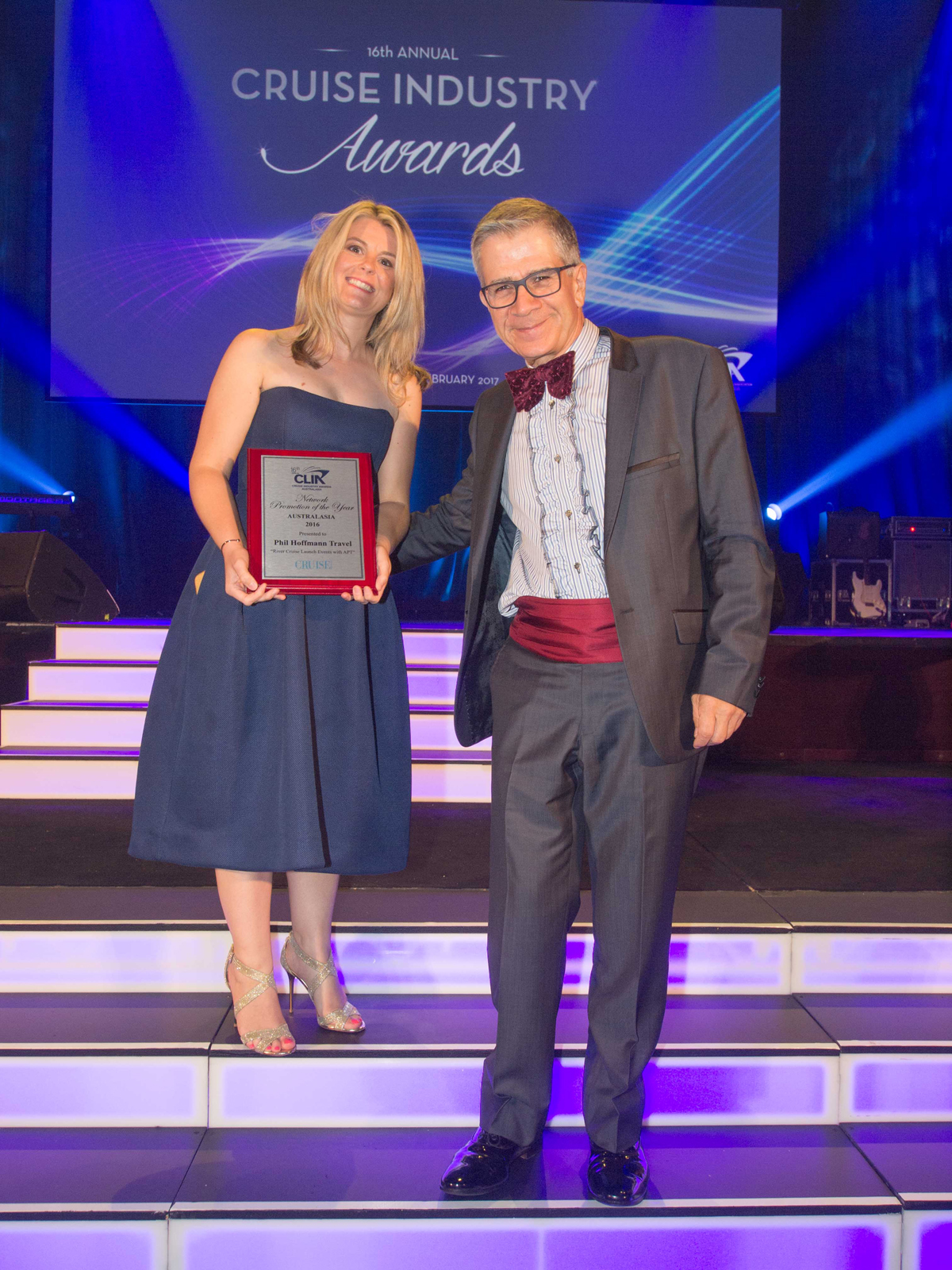 Michelle Mickan from Phil Hoffmann Travel Network Promotion of the Year winner with Cruise Passenger publisher Peter Lynch