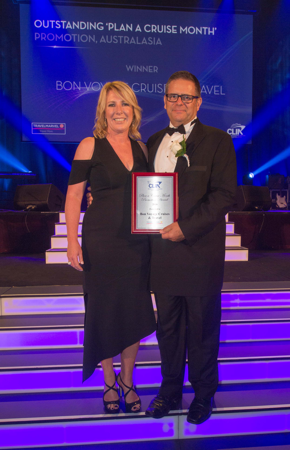 Plan A Cruise Month Promotion Winner Gerard Murphy from Bon Voyage Cruises Travel NZ with Travelmarvel's Deb Fox