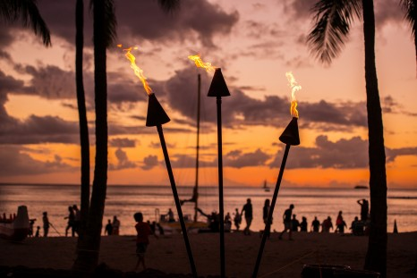 Torch Lighting in Waikiki on Sunset