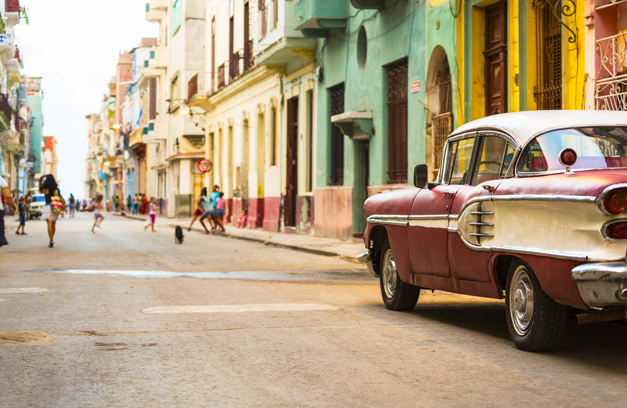 Street in Havana, Cuba with vitage american car