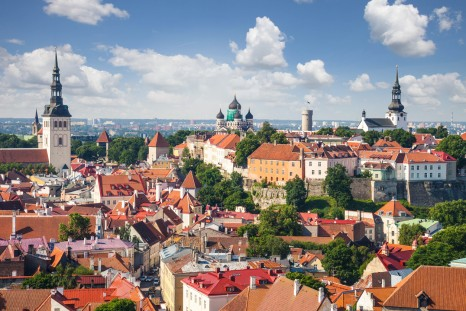 Tallinn aerial Old Town cityscape, Estonia.