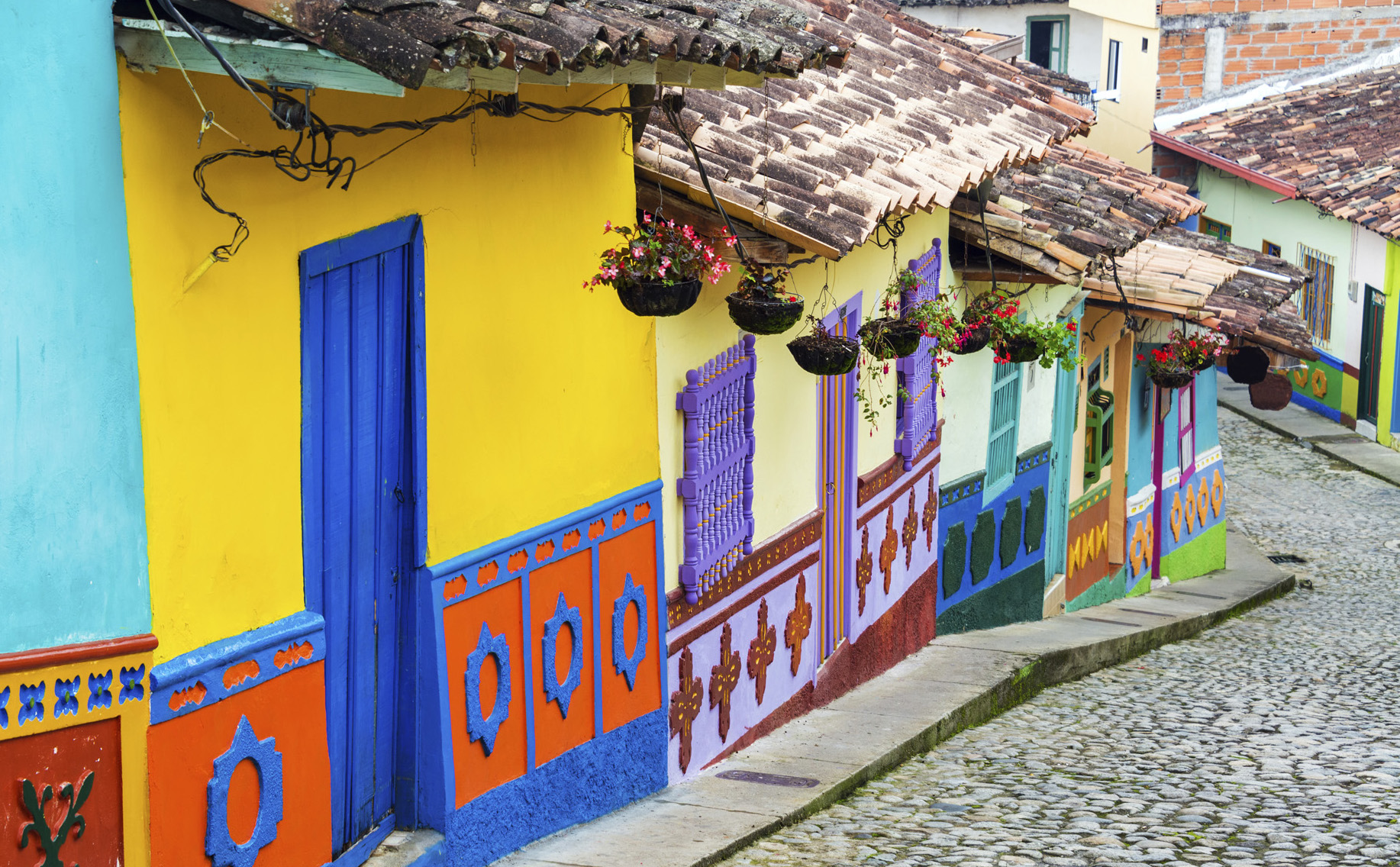 Colourful street in Guatape