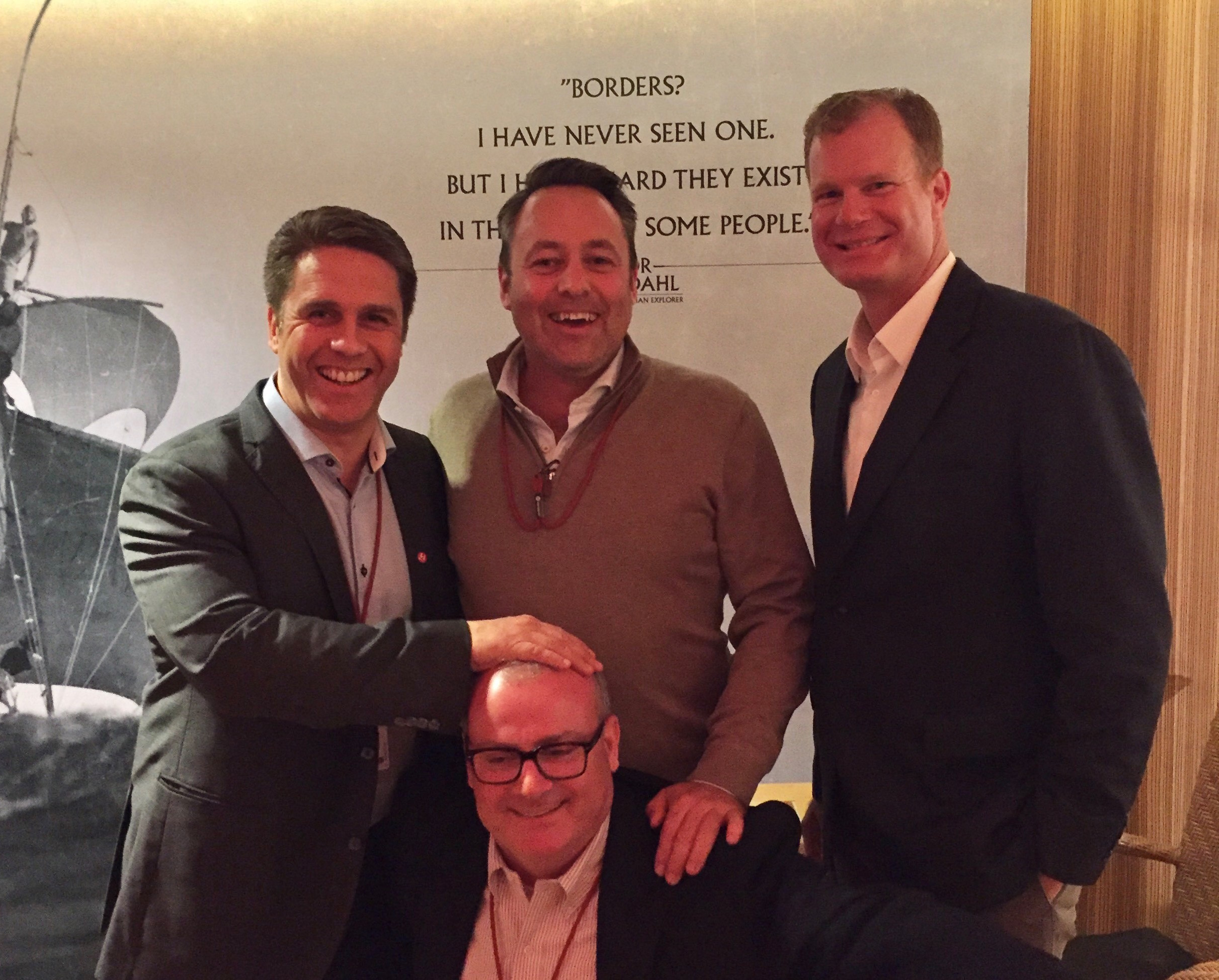 Damian Perry with (L.R) Geir Kronbaeck, VP Global Sales, Gordon Dirker VP USA, and Bill Harber VP APAC for Hurtigruten.