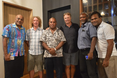 Pictured at the Coral Seas Resort & Casino at a farewell function., (from left to right) – SIVB CEO, Josefa 'Jo' Tuamoto, 'Escape with ET' cameraman Paul Flaherty, Solomon Airlines' general manager – commercial, Colin Sigimanu, Andrew 'ET' Ettingshausen, Ministry of Culture & Tourism Permanent Secretary, Andrew Nihopara and Solomon Airlines' assistant marketing manager, David Keru.