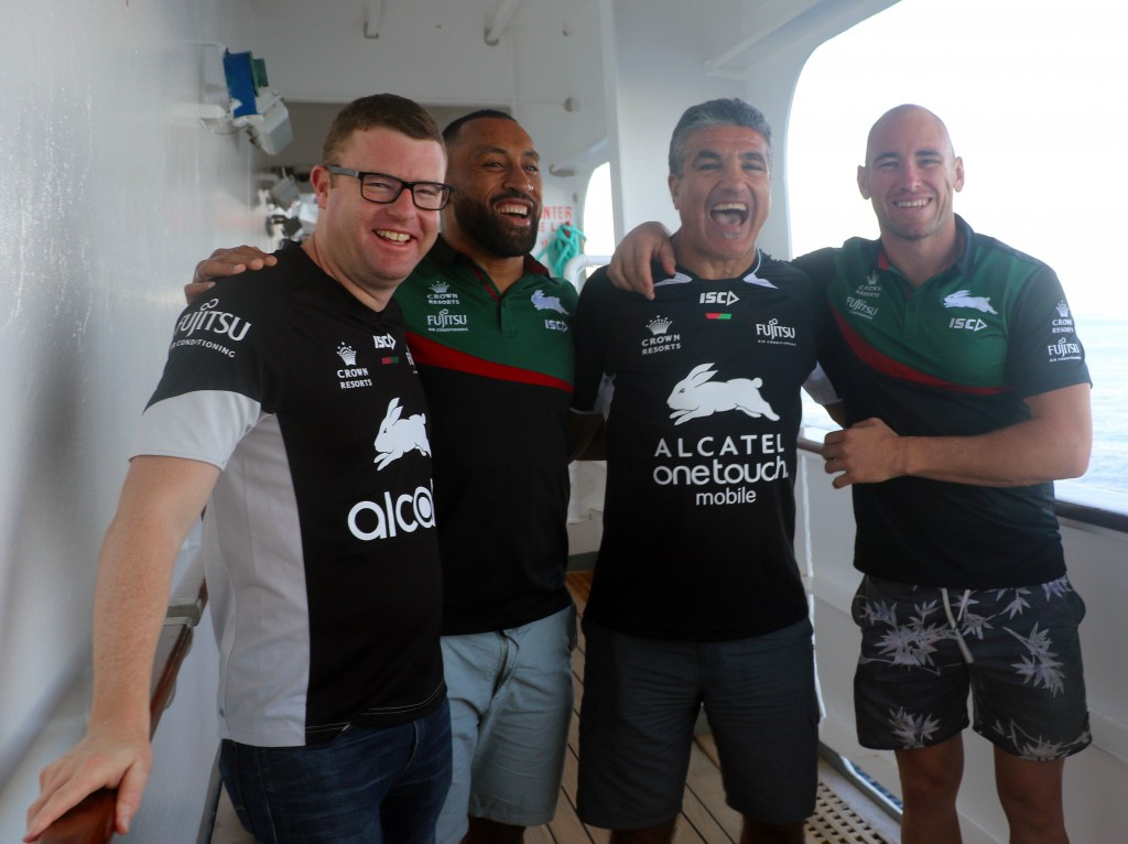 Souths CEO Blake Solly with former players Roy Asotasi Mario Fenech and Ben Lowe on Pacific Jewel
