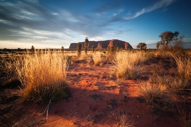 Sunset over Uluru, in the red desert of Australia