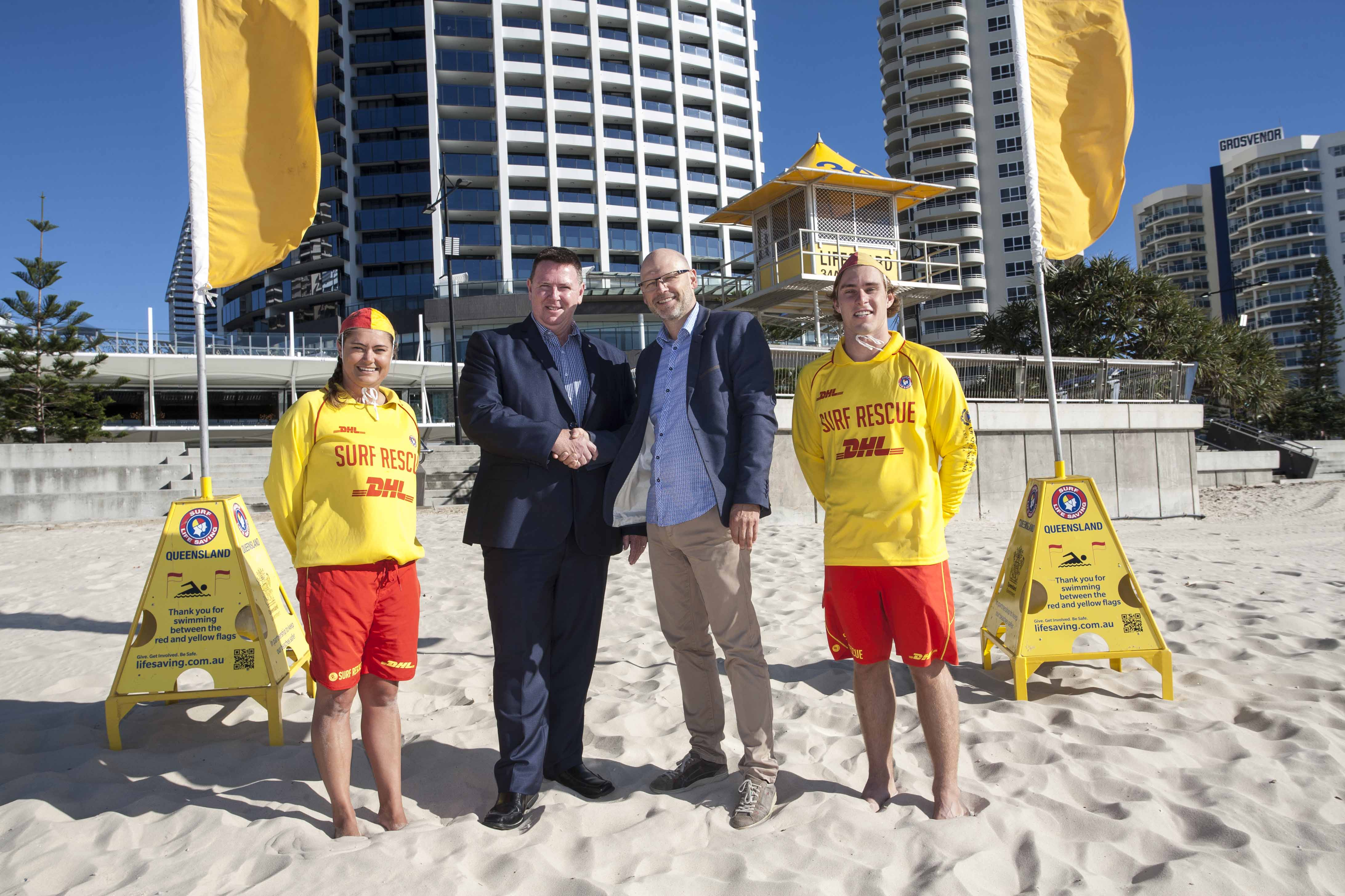 Pictured - John Brennan and Tomas Johnsson with two SLSQ lifeguards