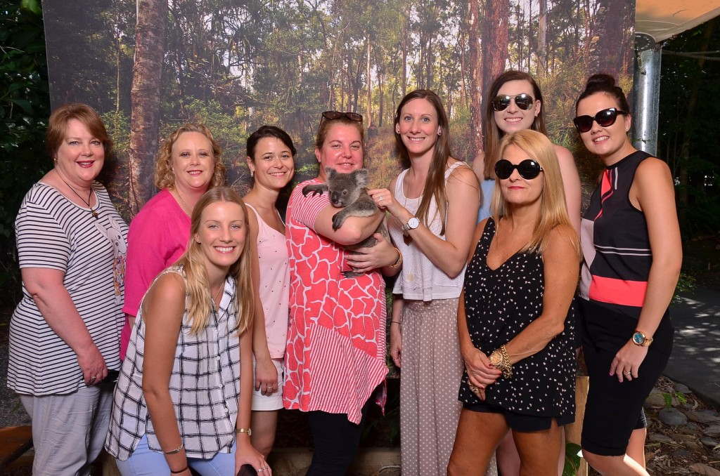 From left back: Heather Testro: Hawthorn Travel, Megan Costello: East Burwood Travel, Katja Rutzer: Travel Consultant, Louise Askerlund (with MJ): Active Travel, Laura Stone: Qantas Holidays, Jaclyn Townsend: Shire Travel, Aoife Murphy: Northern Beaches Travel and Cruise. Front: Alicia Hunter: Complete Travel Solutions, and Susan Duff: Spencer Travel.
