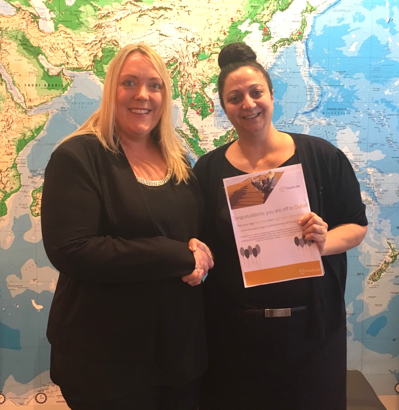TravelCube NSW Sales Executive Cath Marshall (left) congratulates Niki Deller from Flight Centre North Rocks on winning a spot on TravelCube's five-star Dubai famil.