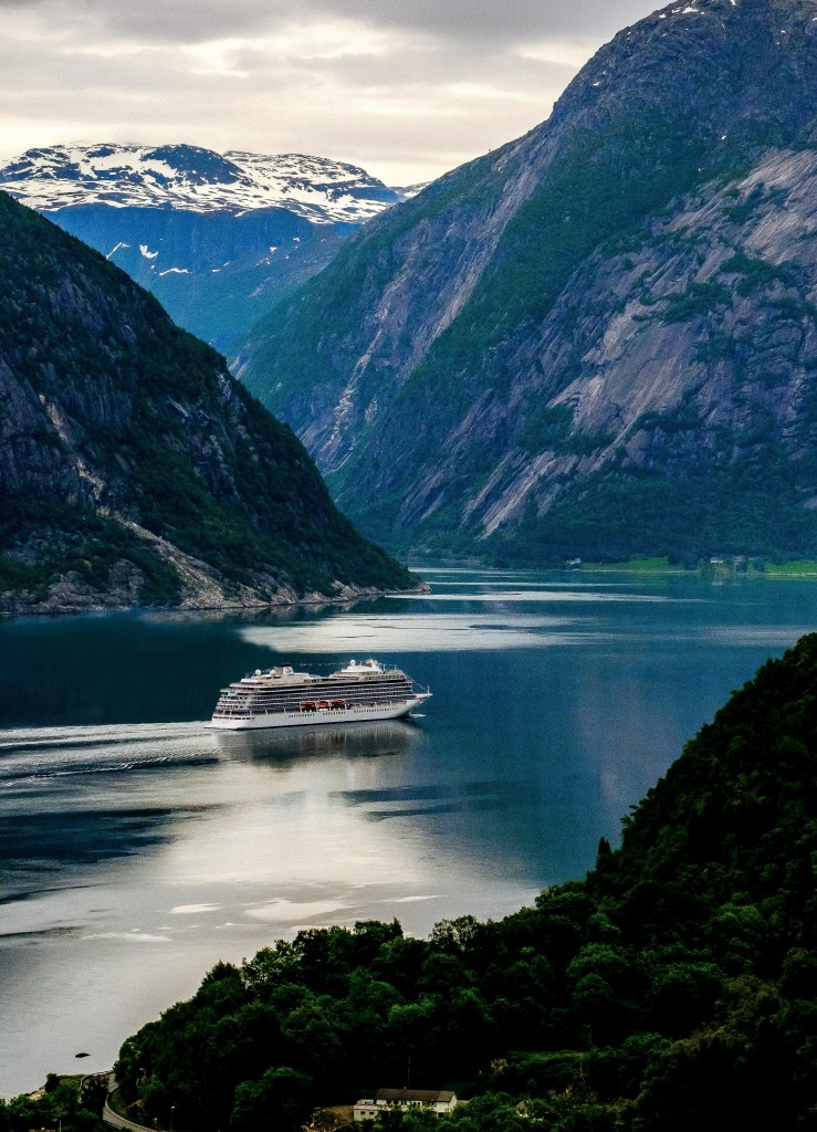 Viking Sky in Eidfjord Norway on her way to be christened in Tromsø on June 22 - HR