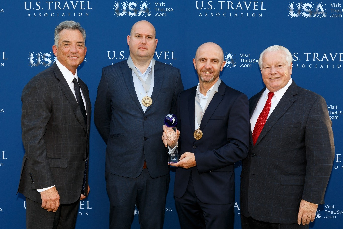 L-R: Christopher Thompson - President and CEO of Brand USA, Mark Brooker - Destination & Procurement Manager, Helloworld Travel Limited, Joe McCormack - GM Procurement, Helloworld Travel Limited, and Roger Dow- President and CEO of US Travel Association.