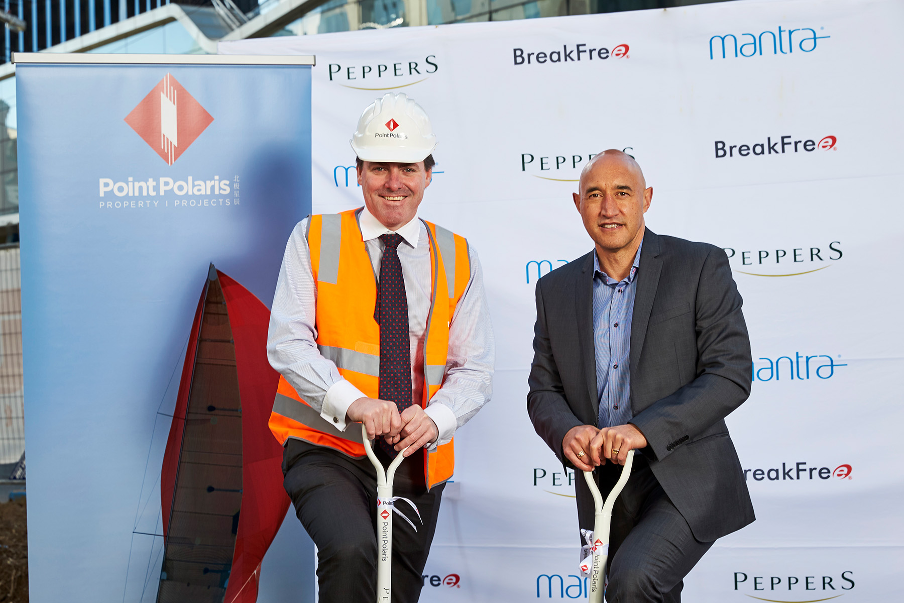 Peppers Southbank Sod Turning L-R Andrew Hogan and Doug Flavell 2