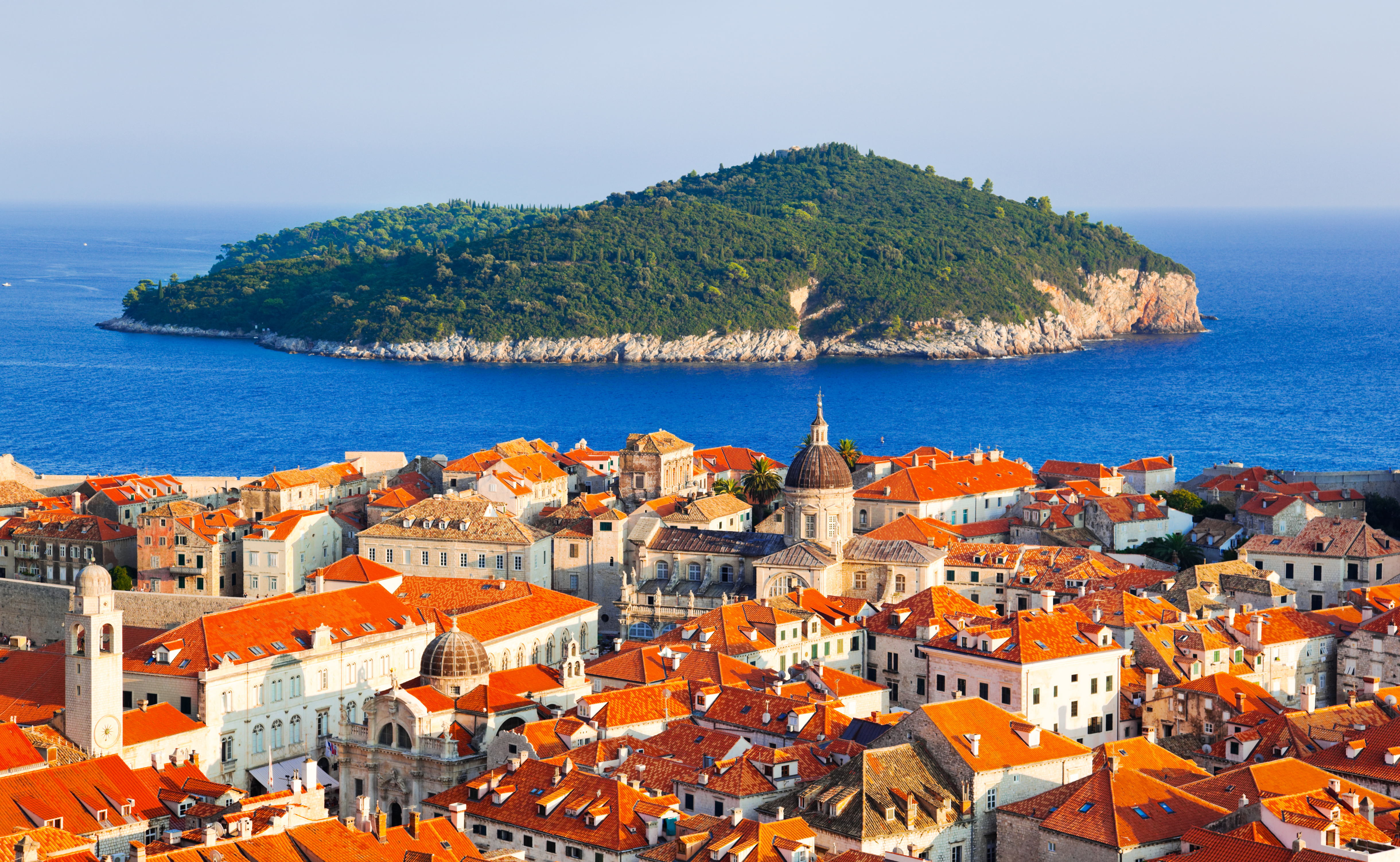Town Dubrovnik and island in Croatia