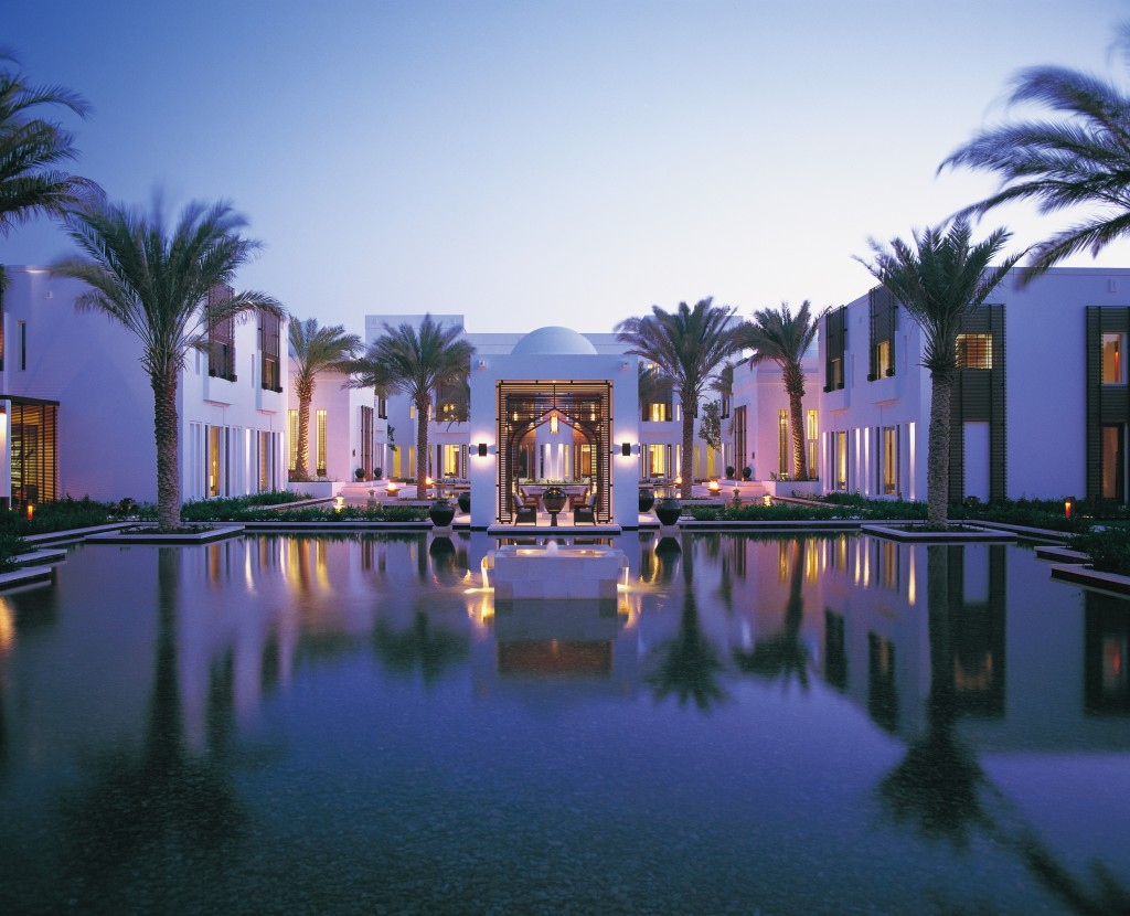 The water garden at The Chedi Muscat Hotel
