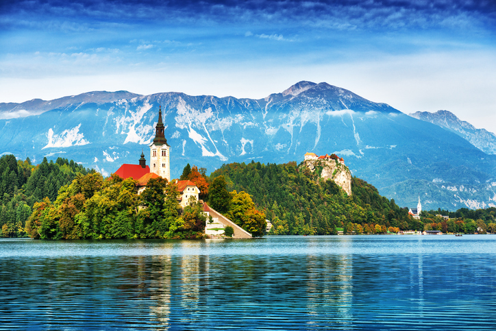 Church on island in Lake Bled, Slovenia