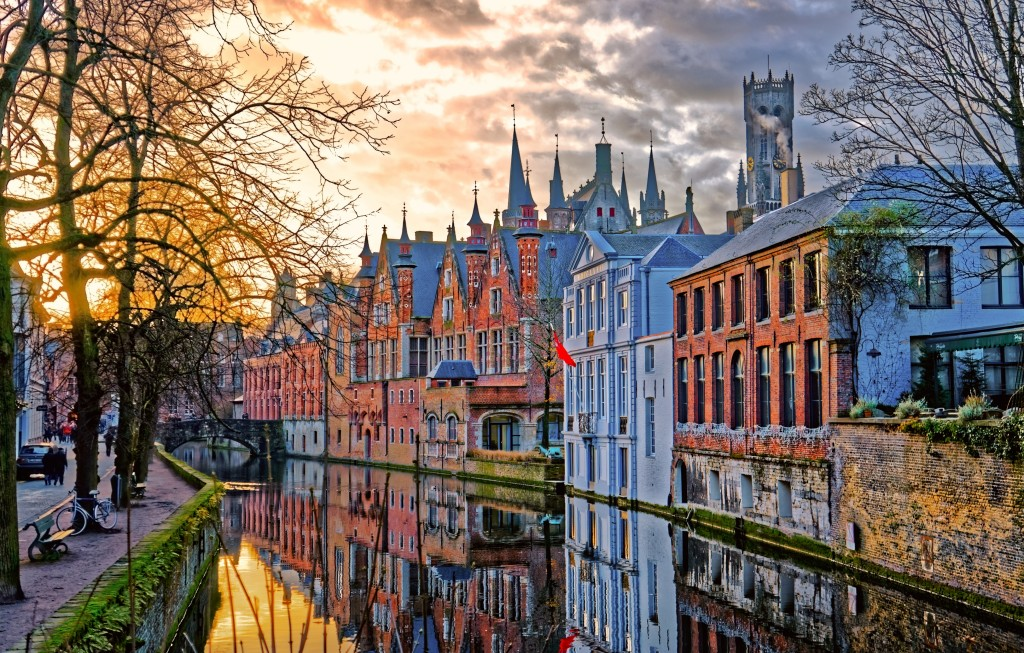 Canals of Bruges (Brugge), Belgium. Winter evening view.