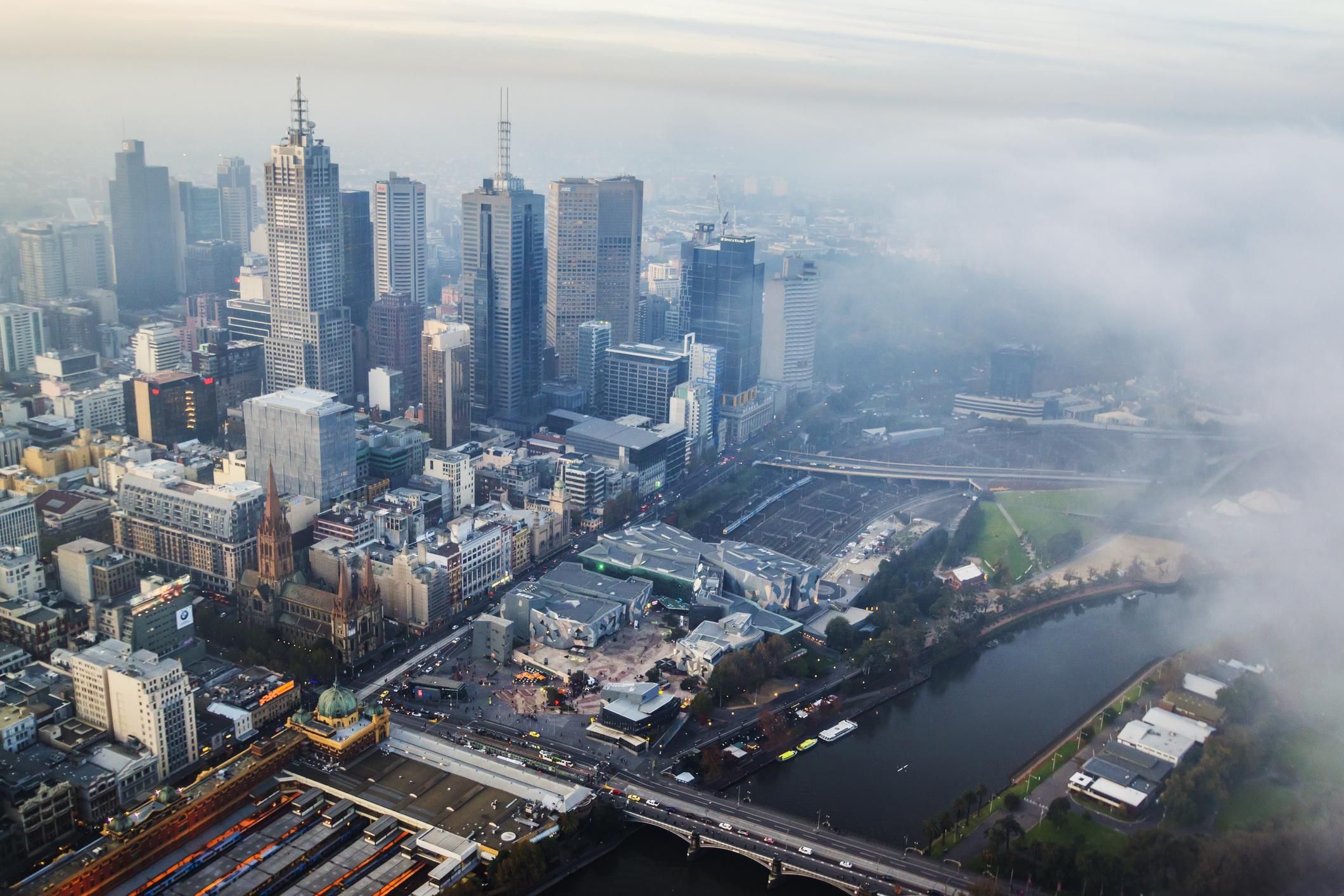 Fog rolling over Melbourne CBD.