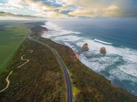 Aerial view of the Great Ocean Road with Gog and Magog rock formations, Victoria, Australia