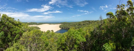 DSLR Panoramic picture of a beach and sand dunes on Fraser Island Landscape, Australia.