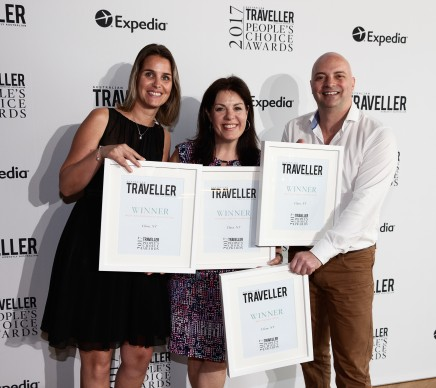 Janneke Leffers and Karena Noble of Voyages with Tony Quarmby of Tourism Northern Territory