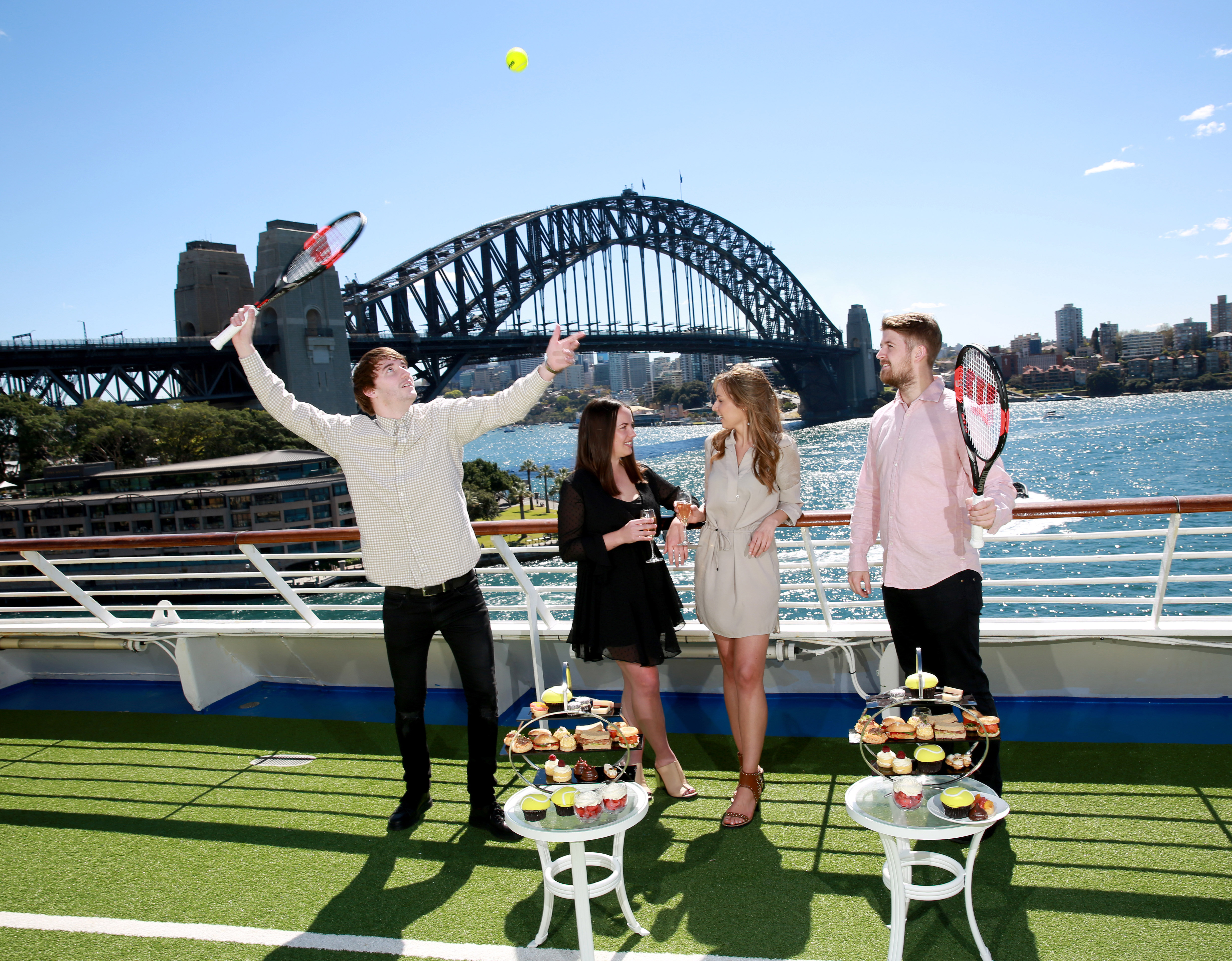 Jack Carter, Bayley Kite, Angelique Chaumont and Cory McLeod on P&O Cruises Pacific Explorer enjoying a high tea as part of the Australian open cruise. Saturday 9th September 2017. Photo by Damian Shaw