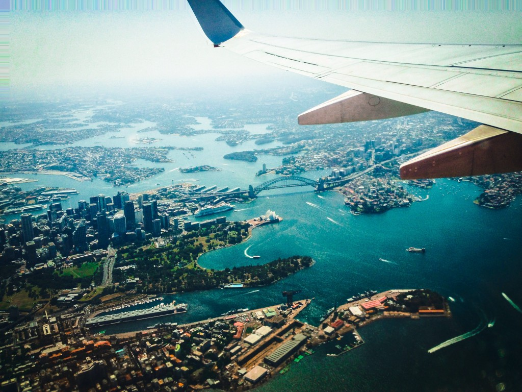Aerial view from a plane over Sydney Harbour. Shot on an iPhone5