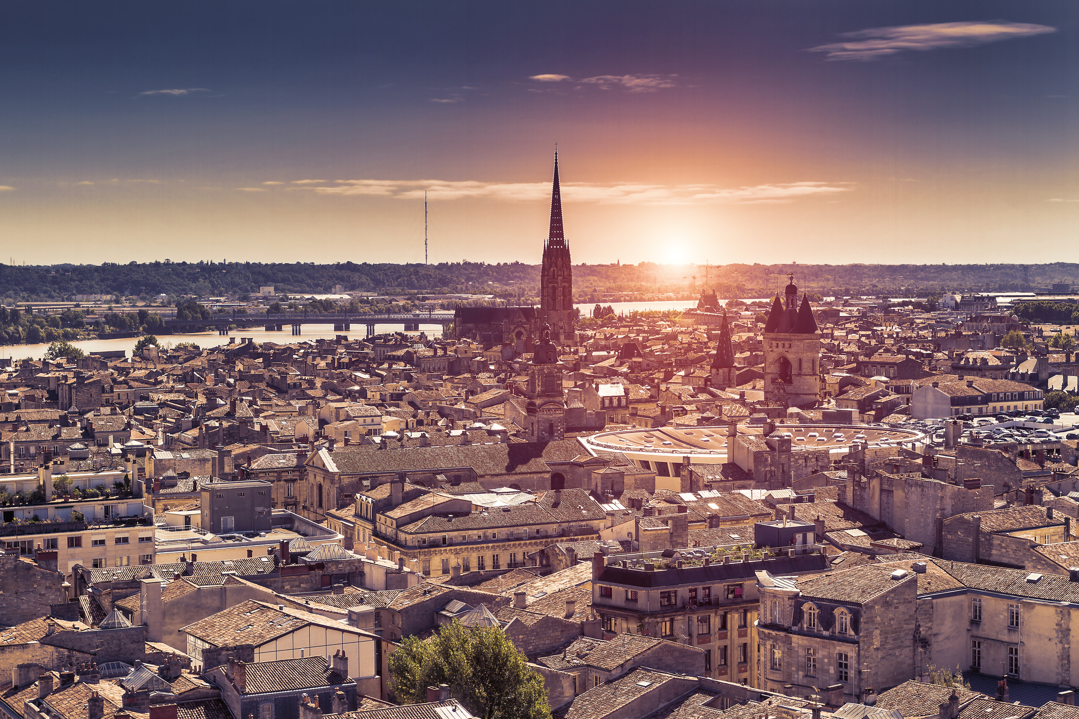 Aerial view of Bordeaux at sunset - France