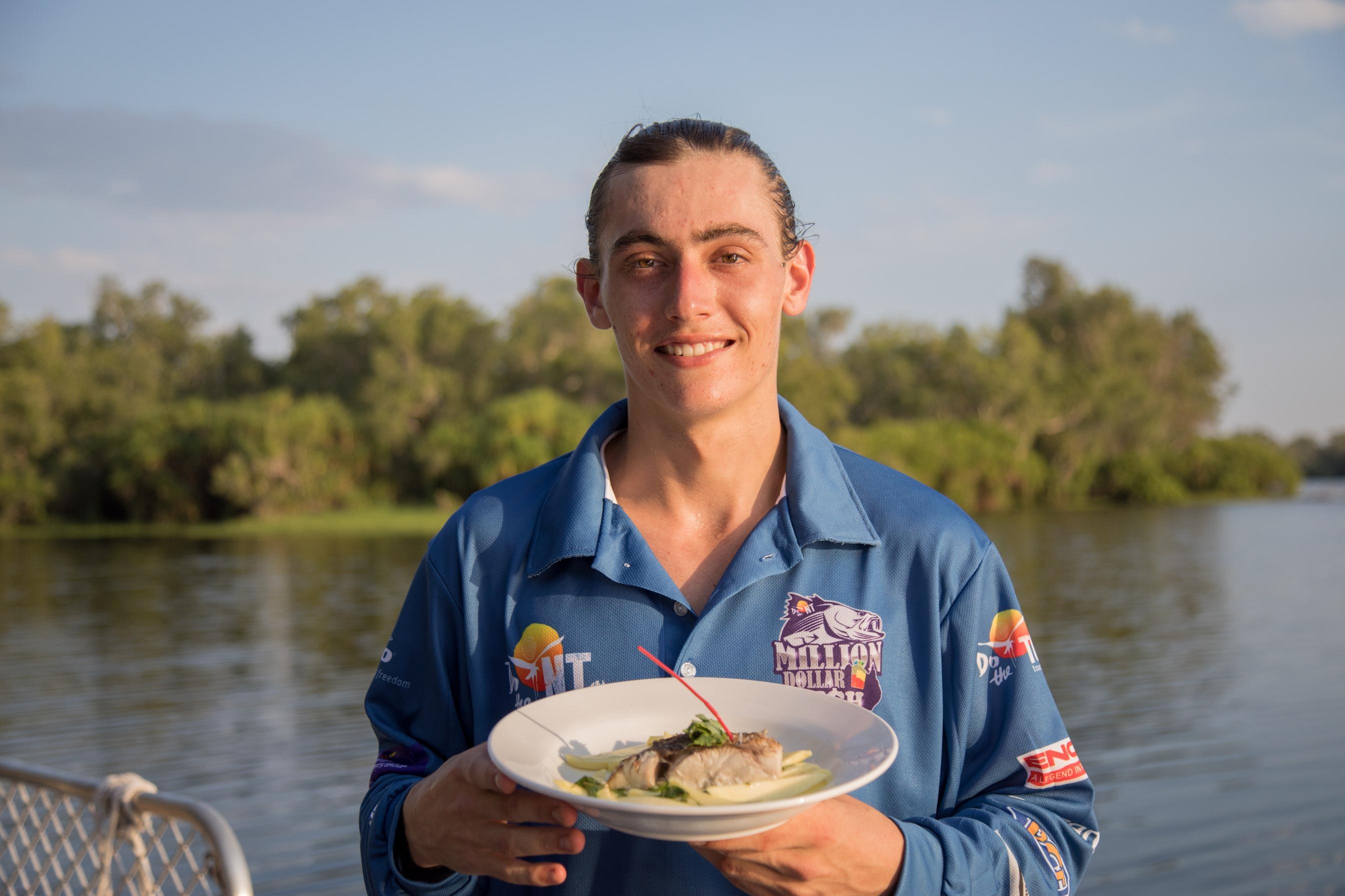Cooinda Lodge chef Jack Higgott with his $10,000 Barramundi dish