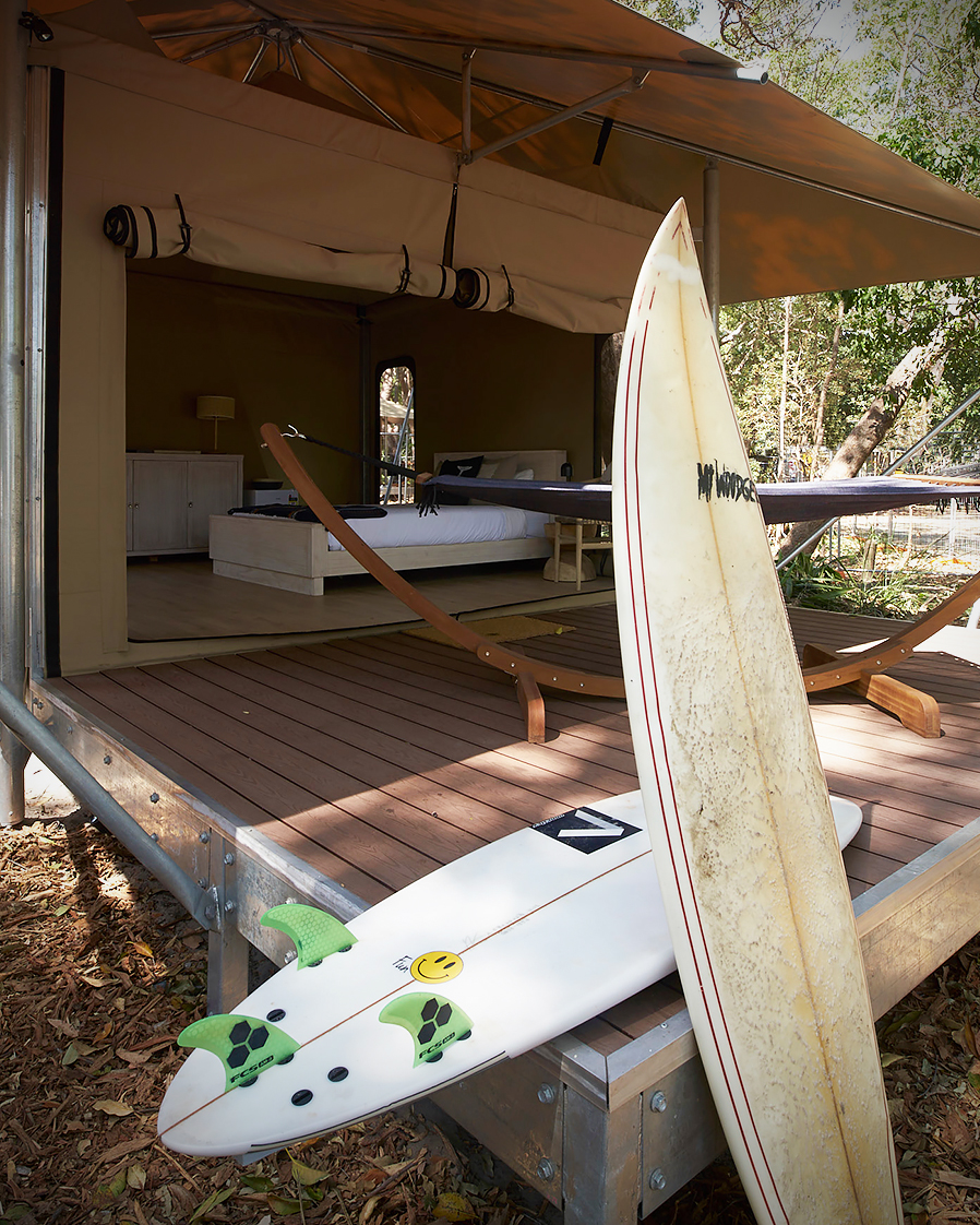 Minjerribah Island Eco Tents with surfboards