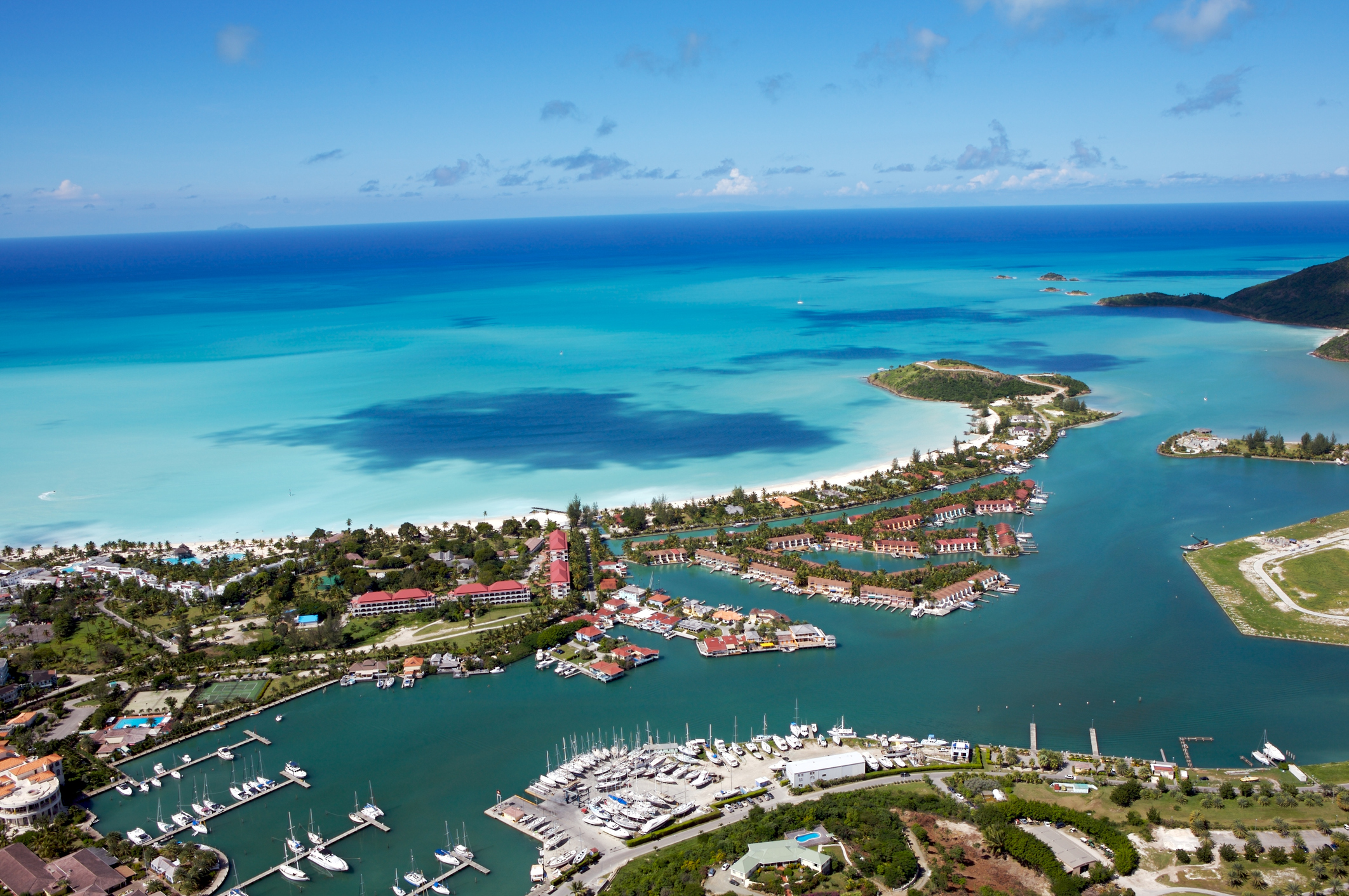 Jolly Harbour, Antigua West Indies. Marina, beach, boats, villas, caribbean.