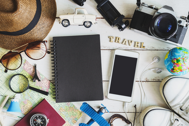 Traveler's accessories and items with black notebook