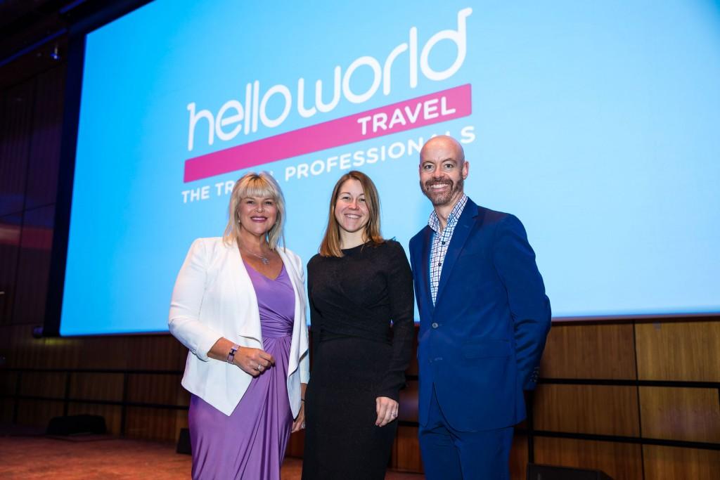 Julie Primmer (Helloworld Travel Limited), Olivia Wirth (Qantas Airways), Stu Milne (Qantas Airways)