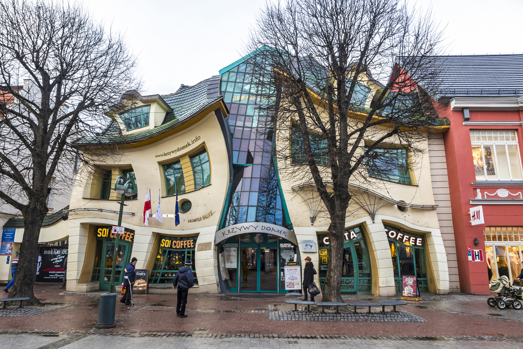 Crooked little house (Krzywy Domek) in Sopot, Poland